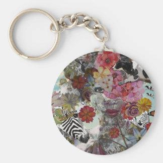 Flora and Fauna Basic Round Button Keychain