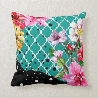 Flora Brazilica | teal pink quatrefoil floral Throw Pillow