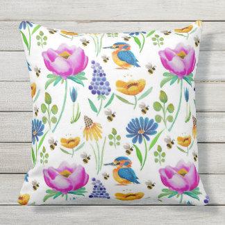 Flora & Fauna Watercolour Throw Pillow