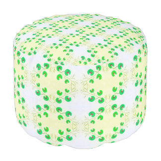 Flora Flower Green Pouf