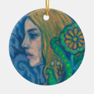 Flora, girl's profile, floral, flowers, blue green round ceramic ornament