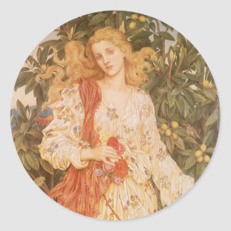 Flora, Goddess of Blossoms and Flowers by Morgan Classic Round Sticker