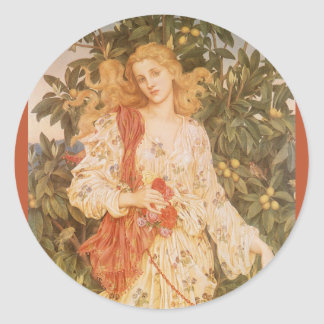 Flora, Goddess of Blossoms and Flowers by Morgan Round Sticker