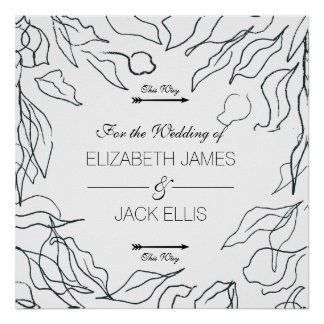 Flora Minimal Wedding Signage Arrows Right Poster