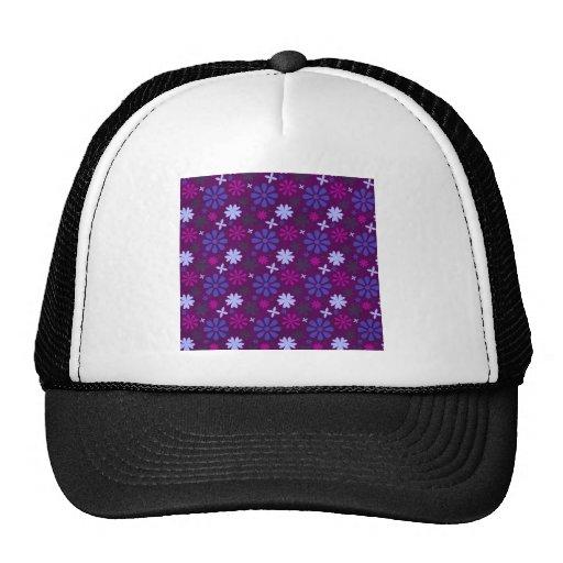 floral27-purple FLORAL FLOWERS PURPLE PINK PATTERN Mesh Hats