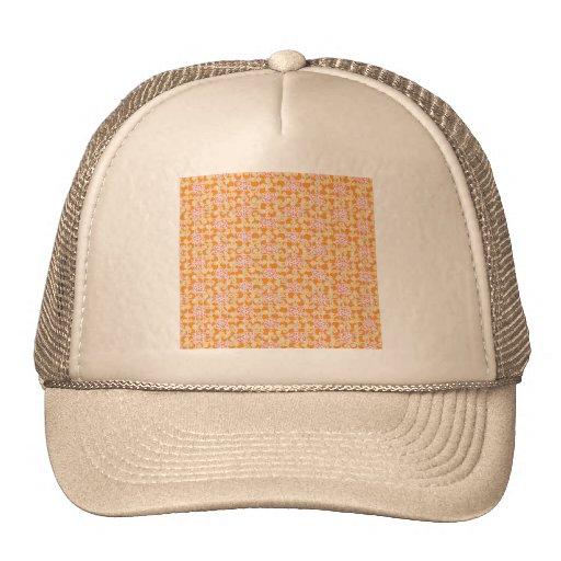 floral35 FLORAL ORANGE PINK PATTERN TEMPLATE BACKG Mesh Hat