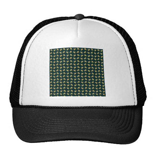 FLORAL56 NAVY CREAM GREEN FLORAL FLOWER PATTERN TE HATS