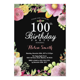 Floral 100th Birthday Invitation for Women