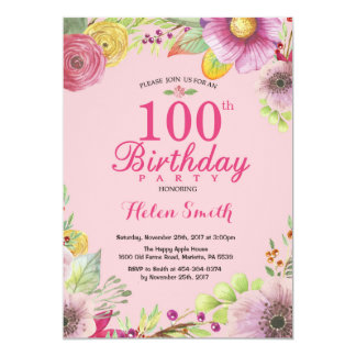 Floral 100th Birthday Invitation for Women Pink