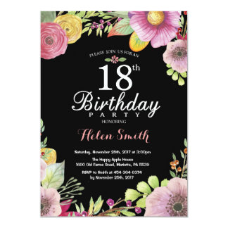 Floral 18th Birthday Invitation for Women
