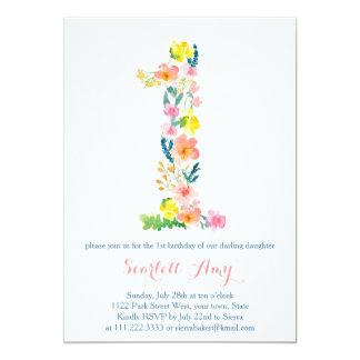 "floral 1st birthday invites, pastel 1st birthday 5"" x 7"" invitation card"