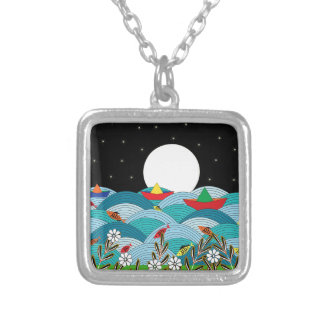 Floral 2 silver plated necklace
