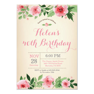 Floral 40th Birthday Invitation Pink Watercolor