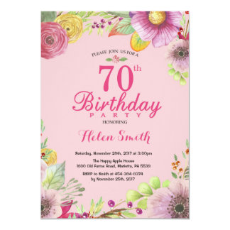 Floral 70th Birthday Invitation for Women Pink