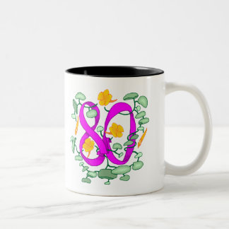 Floral 80th Birthday Gifts Two-Tone Coffee Mug