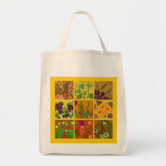 Floral 9 patch quilt-look designer tote bag