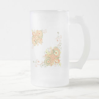 Floral Abstract 16 Oz Frosted Glass Beer Mug