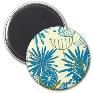 Floral Abstract 2 Inch Round Magnet