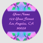 Floral Abstract address label Round Stickers