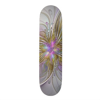 Floral abstract and colorful Fractal Art Skateboard Deck