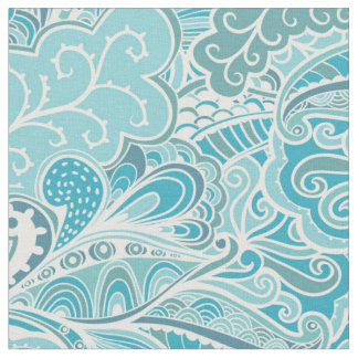 Floral Abstract Aqua Fabric
