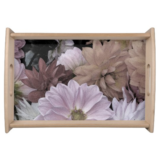 Floral Abstract Dahlia Garden Flowers Serving Tray