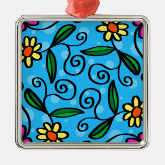 Floral Abstract Silver-Colored Square Ornament