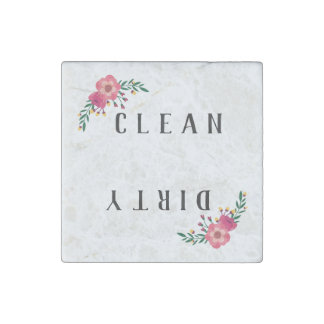 Floral Accent Clean/Dirty Dishwasher Stone Magnets