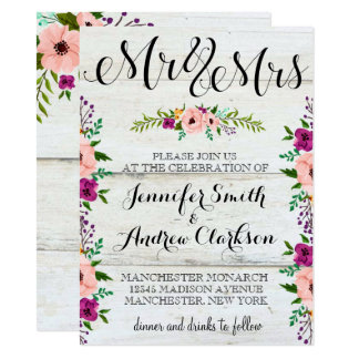 Floral Adorned Rustic | Wedding Invitation