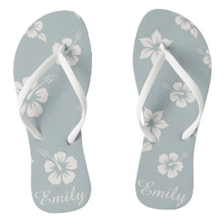 Floral Aloha Hawaii blue Flip Flops easy customize