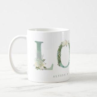 Floral Alphabet | Green Watercolor Love Coffee Mug
