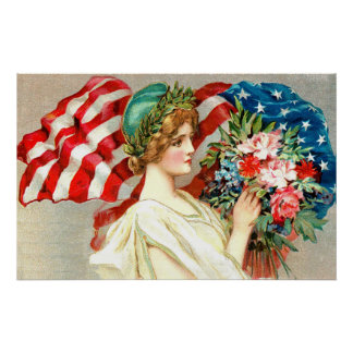 Floral american flag poster
