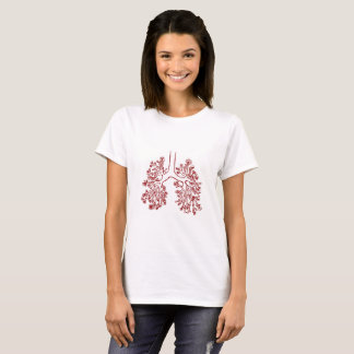 Floral Anatomical Lungs Illustration T-shirt