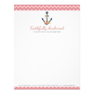 Floral Anchor Nautical Faith Navy & Coral Chevron Letterhead