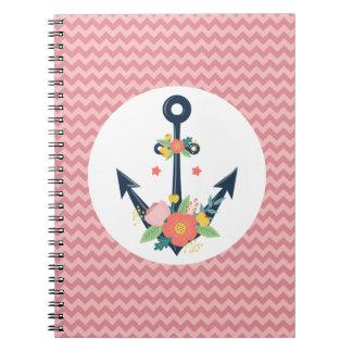 Floral Anchor Nautical Faith Navy & Coral Chevron Notebooks