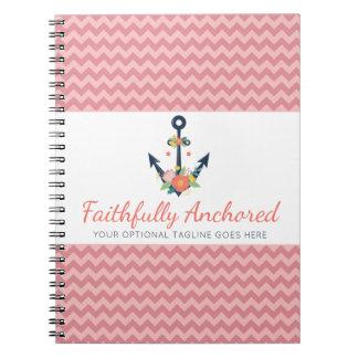 Floral Anchor Nautical Faith Navy & Coral Chevron Spiral Notebook