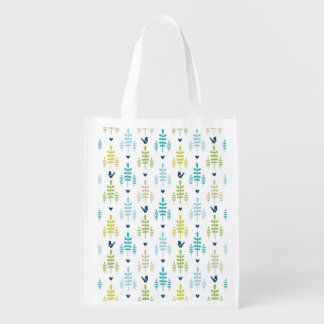 Floral and Bird Whistle Seamless Pattern Reusable Grocery Bag