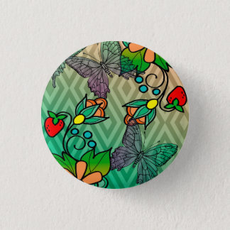 floral and butterflys 1 inch round button