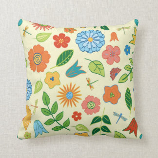 Floral and Dragonfly Patterned Throw Pillow