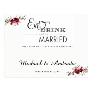 Floral and Eat, Drink, and be Married RSVP Postcard