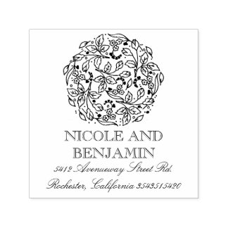 Floral and Elegant Vintage Bouquet Wedding Self-inking Stamp