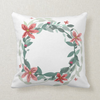 Floral and eucalyptus wreath on a pillow