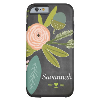 Floral and Fauna Chalkboard Tough iPhone 6 Case
