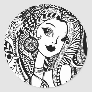Floral and Flirty Color Your Own Zendoodles Round Sticker