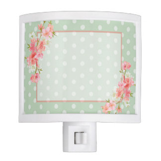 Floral and Green Polka Dot Night Light