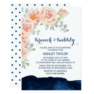 Floral and Navy Watercolor Brunch and Bubbly Card