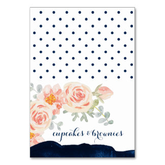 Floral and Navy Watercolor Buffet Food Labels Card