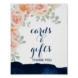 Floral and Navy Watercolor Cards and Gifts Sign Poster