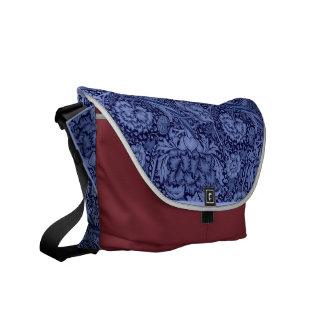 Floral and Ribbon in Blue Courier Bags