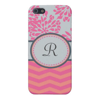 Floral and Stripes Monogram Speck Case iPhone 5 Cases